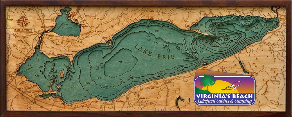 Lake Erie Woodcut Map with Virginia's Beach Location